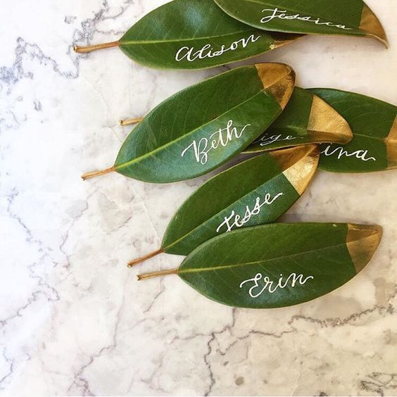 gold wedding calligraphy leaves