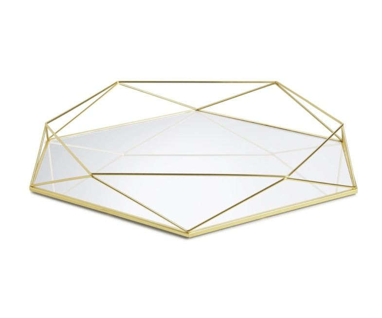 Geometric gold mirror tray riser